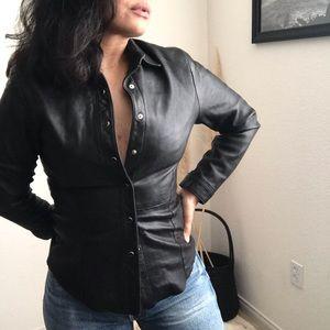 Genuine Danier leather snap button shirt